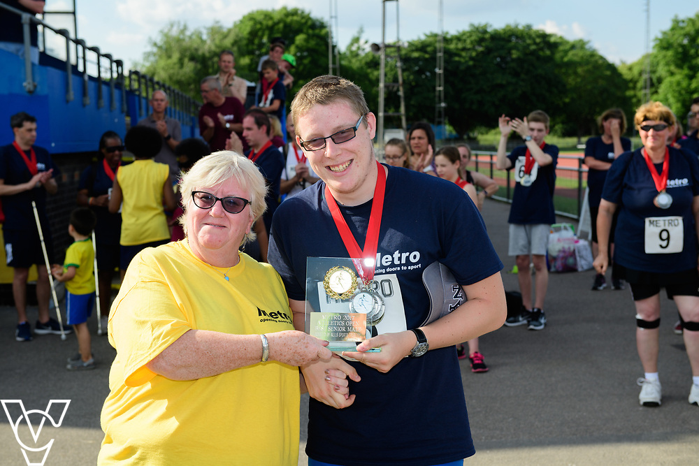Metro Blind Sport's 2017 Athletics Open held at Mile End Stadium.  Medal presentations. Matthew Boulding<br /> <br /> Picture: Chris Vaughan Photography for Metro Blind Sport<br /> Date: June 17, 2017