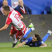 HARRISON, NEW JERSEY- November 06:  Alex Muyl #19 of New York Red Bulls is tackled by Marco Donadel #33 of Montreal Impact during the New York Red Bulls Vs Montreal Impact MLS playoff match at Red Bull Arena, Harrison, New Jersey on November 06, 2016 in Harrison, New Jersey. (Photo by Tim Clayton/Corbis via Getty Images)