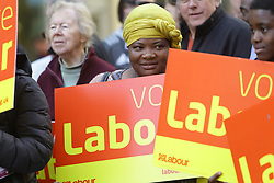 © Licensed to London News Pictures. 19/04/17. Croydon, UK.  Supporters gather before Labour Party leader JEREMY CORBYN addresses supporters in Croydon town centre, joined by labour councillors and supporters, on the day that the House of Commons voted for a asap general election on June 8, 2017.  Photo credit: Grant Melton/LNP