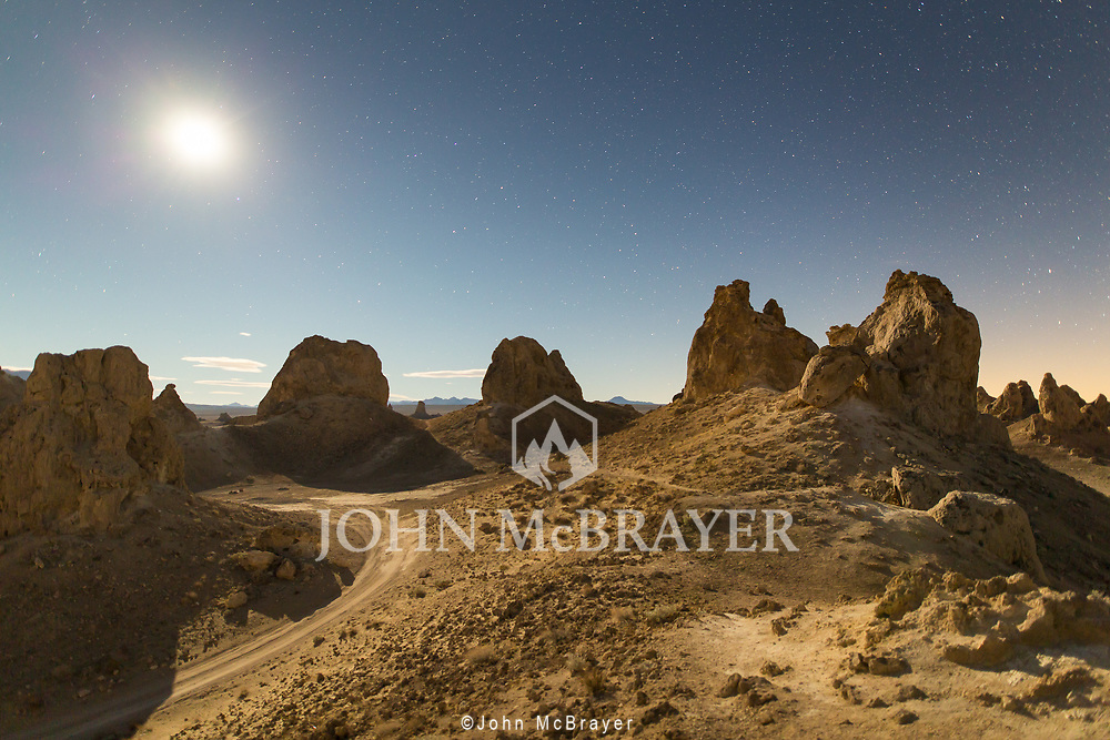 Trona Pinnacles under a full moon takes on a Mars-like appearance. © John McBrayer