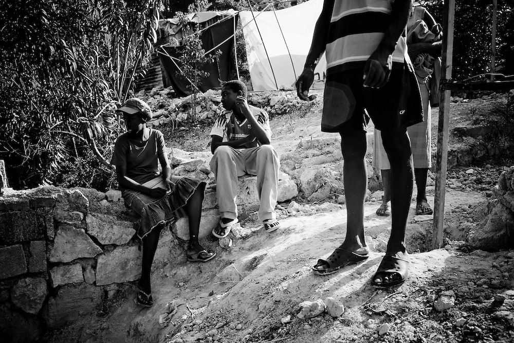 Residents of a camp for those displaced by the recent earthquake in Petionville, outside Port-au-Prince, Haiti.