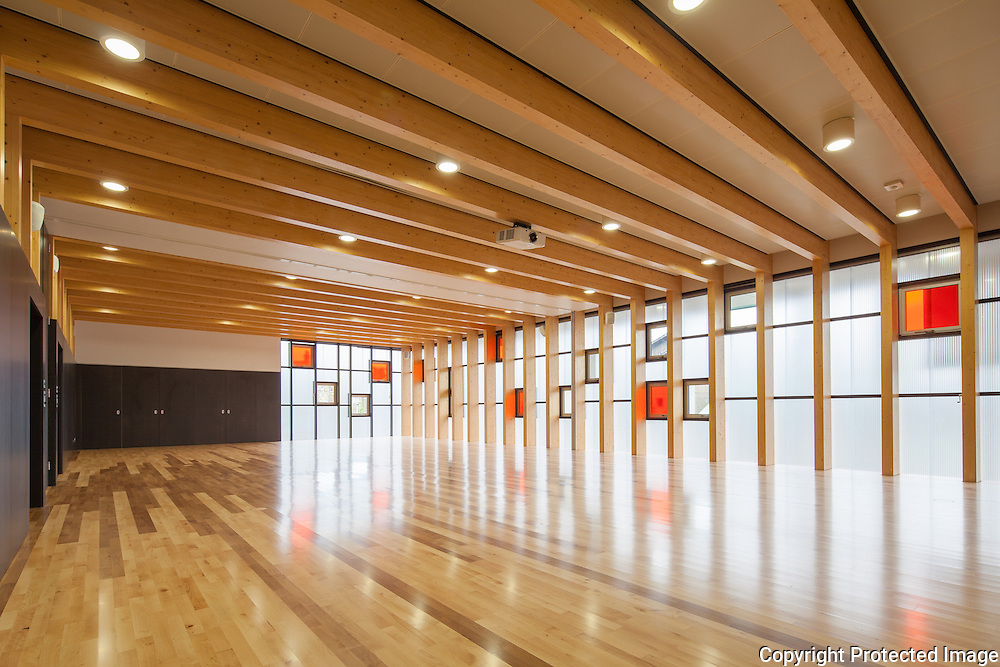 Multi-Function Sports Hall at Magdalen College School, Oxford. Architect: Original Field of Architecture