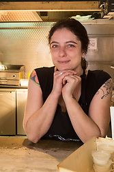 Manager Arianna Bonesso at London's first totally vegan chippy in Hackney, North East London. Hackney, London, October 08 2018.