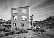 The remnant of a bygone era, Sunset over a crumbling building at Rhyolite Nevada, an abandoned town near Death Valley; USA