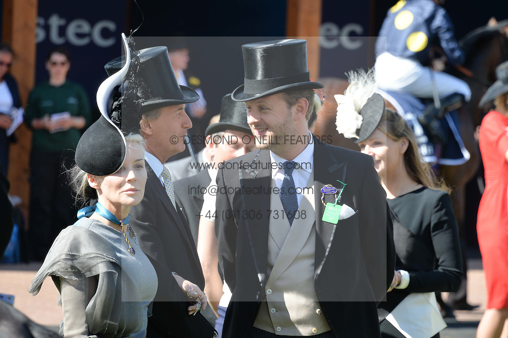 DAPHNE GUINNESS and LORD EDWARD SPENCER-CHURCHILL at the Investec Derby 2015 at Epsom Racecourse, Epsom, Surrey on 6th June 2015.