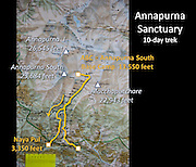 A Nepal map indicates trekking to the Annapurna Sanctuary, in the Annapurna Conservation Area.