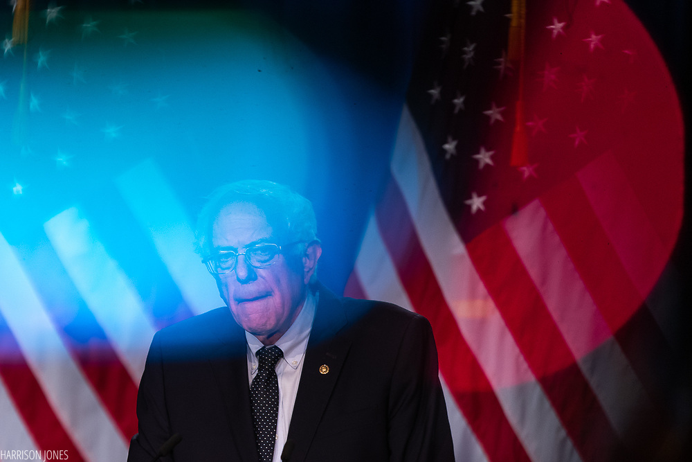 Sen. Bernie Sanders, I-Vt., speaks during a campaign speech at George Washington University's Jack Morton Auditorium, Wednesday, July 17, 2019, in Washington. (Harrison Jones/George Washington University)