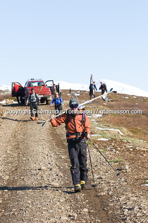 Skiers heading for basecamp after a great day skiing mt. Lambárhnjúkur 1027m. Hvalvatnsfjörður, Iceland.