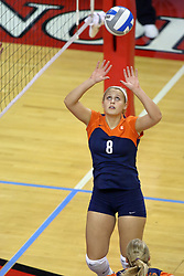 16 SEP 2008: Hillary Haen sets the ball up an Illini attack during a match at Redbird Arena on the campus of Illinois State University in Normal Illinois.  The Illinois State Redbirds went toe to toe with the University of Illinois Illini but in the end were outpaced by the 23rd ranked Division 1 Illini team 3 sets to 1.