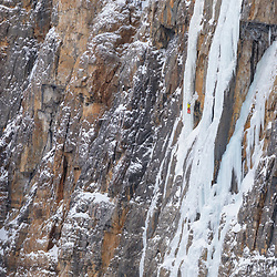 Pat Lindsay leading Arian P'tit Gremlin, WI5 300m, in the remote Protection Valley, Banff National Park, Alberta, Canada