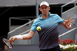 May 11, 2018 - Madrid, Madrid, Spain - Kevin Anderson of South Africa in action in his quarter final match against Dusan Lajovic of Serbia during day seven of the Mutua Madrid Open tennis tournament at the Caja Magica on May 11, 2018 in Madrid, Spain  (Credit Image: © David Aliaga/NurPhoto via ZUMA Press)
