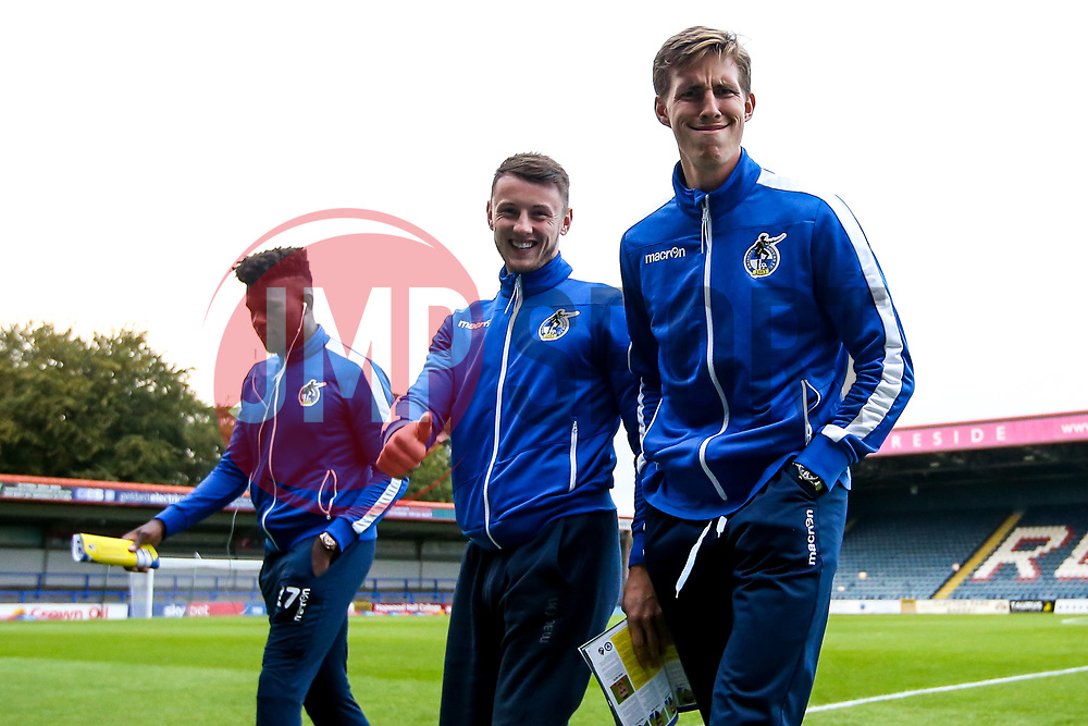 Ollie Clarke and Joe Partington of Bristol Rovers arrive at The Crown Oil Arena for the Sky Bet League One fixture with Rochdale - Mandatory by-line: Robbie Stephenson/JMP - 02/10/2018 - FOOTBALL - Crown Oil Arena - Rochdale, England - Rochdale v Bristol Rovers - Sky Bet League One