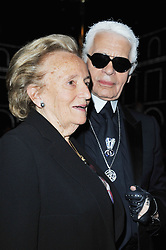 Karl Lagerfeld, Bernadette Chirac attending the Chanel Haute-Couture Fall-Winter 2011-2012 collection presentation held at the Grand Palais in Paris, France on July 5, 2011. Photo by Thierry Orban/ABACAPRESS.COM