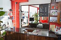 Reception desk at hair salon