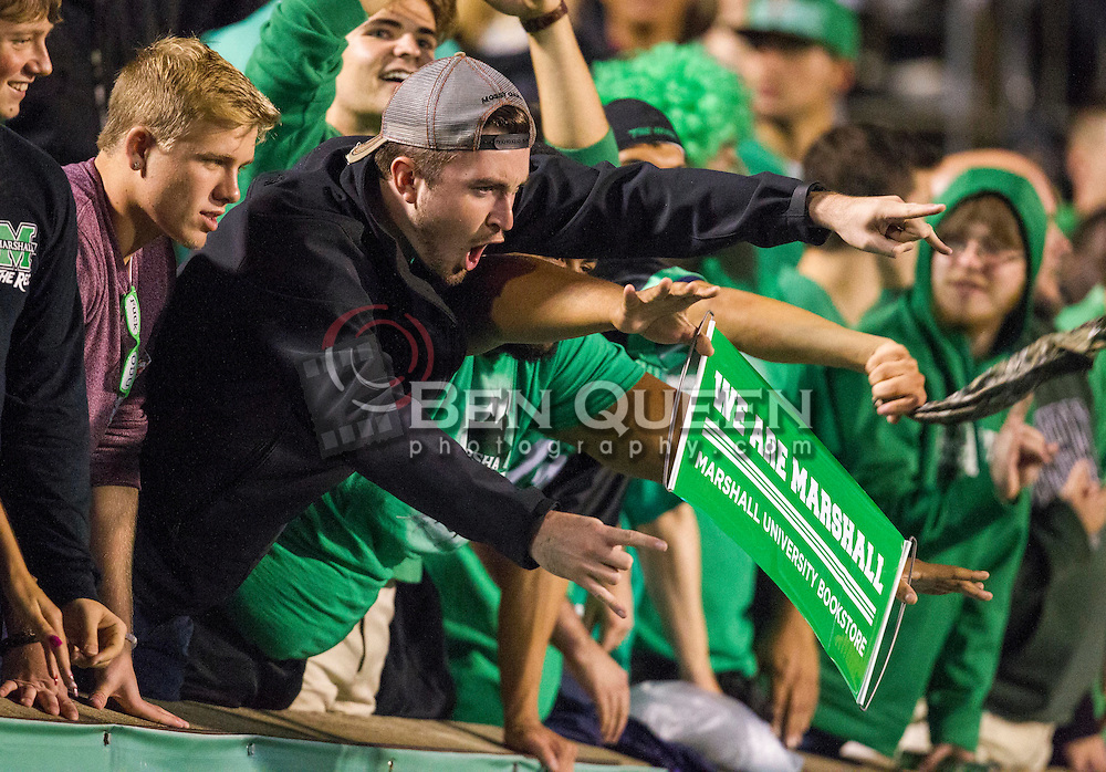 Oct 9, 2015; Huntington, WV, USA; Marshall Thundering Herd students cheer during the second quarter against the Southern Miss Golden Eagles at Joan C. Edwards Stadium. Mandatory Credit: Ben Queen-USA TODAY Sports