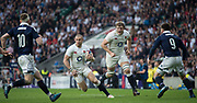 Twickenham, United Kingdom. Mike BROWN, supported by Joe LAUNCHBURY, looking to go through the gap between [L] Finn RUSSELL and Ali PRICE, during the  Six Nations International Rugby, Calcutta Cup Game, England vs Scotland, RFU Stadium, Twickenham, England, <br />
