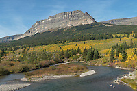 Saint Mary River and Singleshot Mountain in autumn, Glacier National Park Montana
