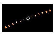 Composite Image of the Aug. 21 2017 Solar Eclipse taken from outside Nashville, TN. <br /> <br /> Digitally signed panoramic Image with white border suitable for framing.