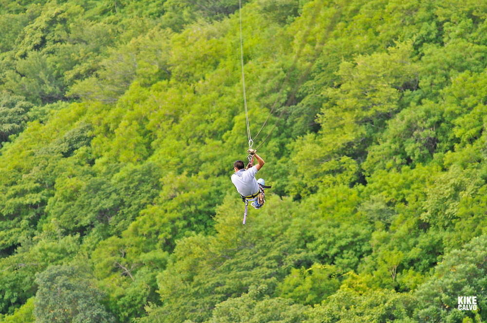 Zipline canopy tour. Glide at a height of 70 meters overlooking the Laguna de Tiscapa at el Parque Nacional de la Loma de Tiscapa, with views of old and new Managua,  from the site of the former Somoza palace.