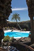 Tropical garden and Jameo Grande swimming pool Jameos de Aqua designed by Cesar Manrique, Lanzarote, Canary Islands, Spain