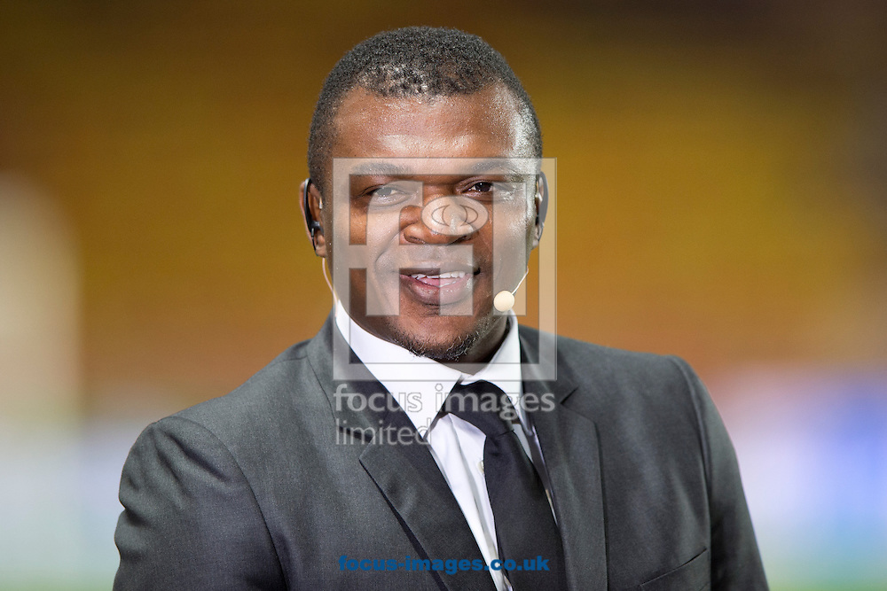Former French international Marcel Desailly prepares to give an interview ahead of the UEFA Champions League round of 16 second leg at Stade Louis II, Monaco<br /> Picture by Russell Hart/Focus Images Ltd 07791 688 420<br /> 17/03/2015