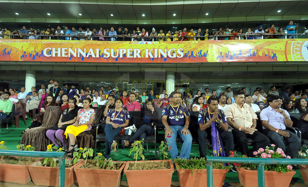KKR fans during match 21 of the Pepsi Indian Premier League Season 2014 between the Chennai Superkings and the Kolkata Knight Riders  held at the JSCA International Cricket Stadium, Ranch, India on the 2nd May  2014<br /> <br /> Photo by Arjun Panwar / IPL / SPORTZPICS<br /> <br /> <br /> <br /> Image use subject to terms and conditions which can be found here:  http://sportzpics.photoshelter.com/gallery/Pepsi-IPL-Image-terms-and-conditions/G00004VW1IVJ.gB0/C0000TScjhBM6ikg