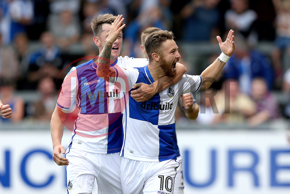 Matt Taylor of Bristol Rovers celebrates with Ollie Clarke after scoring the winning goal against Oxford United - Mandatory by-line: Robbie Stephenson/JMP - 14/08/2016 - FOOTBALL - Memorial Stadium - Bristol, England - Bristol Rovers v Oxford United - Sky Bet League One