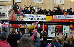 © Licensed to London News Pictures. 03/03/2014; Bristol, UK.  Jenny Jones, Olympic Bronze medallist in snowboarding, arrives at Bristol's College Green by open top bus during a celebratory parade through Bristol.<br /> Photo credit: Simon Chapman/LNP