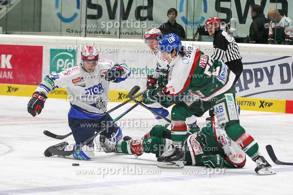 02.11.2014, Curt-Frenzel-Stadion, Augsburg, GER, DEL, Augsburger Panther vs Schwenninger Wild Wings, 16. Runde, im Bild l-r: im Zweikampf, Aktion, mit Simon Danner #14 (Schwenninger Wild Wings), Morten Green #13 (Schwenninger Wild Wings), Brett Breitkreuz #29 (Augsburger Panther), Daniel Weiss #57 (Augsburger Panther) // during Germans DEL Icehockey League 16th round match between Augsburger Panther and Schwenninger Wild Wings at the Curt-Frenzel-Stadion in Augsburg, Germany on 2014/11/02. EXPA Pictures © 2014, PhotoCredit: EXPA/ Eibner-Pressefoto/ Kolbert<br /> <br /> *****ATTENTION - OUT of GER*****