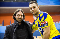 Marko Suler of NK Maribor and Luka Zvizej of RK Celje PL after the handball match between RK Celje Pivovarna Lasko and RK Gorenje Velenje in Eighth Final Round of Slovenian Cup 2015/16, on December 10, 2015 in Arena Zlatorog, Celje, Slovenia. Photo by Vid Ponikvar / Sportida