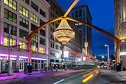 Outdoor Chandalier in Playhouse Square, Cleveland, Ohio.