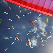 A gaggle of Paragliders during the World Paragliding Championships at Mount Borah, Manilla near Tamworth, NSW, Australia