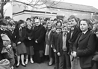 The Archbishop of Dublin Dr. Kevin McNamara with pupils. 12th Feb 1986. (Part of the Independent Ireland Newspapers/NLI Collection)