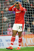 Frustration for Barnsley forward Victor Adeboyejo (29) as he missed an opportunity on goal during the EFL Sky Bet League 1 match between Barnsley and Scunthorpe United at Oakwell, Barnsley, England on 2 February 2019.