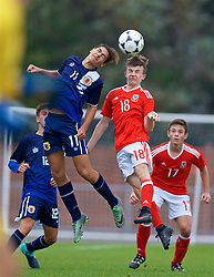 NEWPORT, WALES - Sunday, September 24, 2017: Gibraltar's Issak Vinet and Wales' Liam Higgins during an Under-16 International friendly match between Wales and Gibraltar at the Newport Stadium. (Pic by David Rawcliffe/Propaganda)