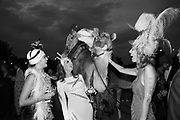 LORD HUGO MANNERS ON CAMEL; LADY VIOLET MANNERS; LADY ELIZA MANNERS, LADY ALICE MANNERS, Lady Eliza Manners 18th birthday. By the Lake, Belvoir Castle, 29 August 2015.