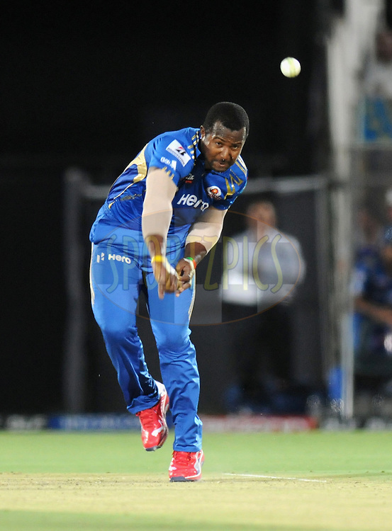Dwayne smith of Mumbai Indians bowls during match 72 of the Indian Premier League ( IPL) 2012  between The Rajasthan Royals and the Mumbai Indians  held at the Sawai Mansingh Stadium in Jaipur on the 20th May2012..Photo by Pal Pillai/IPL/SPORTZPICS