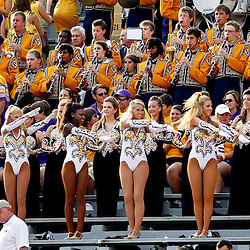 Sep 18, 2010; Baton Rouge, LA, USA;  The Golden Girls perform along with the LSU Tigers band prior kickoff of a game between the LSU Tigers and the Mississippi State Bulldogs at Tiger Stadium. The LSU Tigers defeated the Mississippi State Bulldogs 29-7. Mandatory Credit: Derick E. Hingle