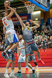 13.04.2019, SPH Walfersam, Kapfenberg, AUT, Admiral BBL, Kapfenberg Bulls vs Raiffeisen Fürstenfeld Panthers, 33. Runde, im Bild v.l.: Elijah Wilson (Kapfenberg Bulls), Matija Poscic (Raiffeisen Fuerstenfeld Panthers) // during the Admiral Basketball league, 33th round match between Kapfenberg Bulls and Raiffeisen Fürstenfeld Panthers at the SPH Walfersam in Kapfenberg, Austria on 2019/04/13. EXPA Pictures © 2019, PhotoCredit: EXPA/ Dominik Angerer