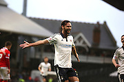 Fulham defender, Michael Madl (15) celebrating scoring second goal of game during the Sky Bet Championship match between Fulham and Charlton Athletic at Craven Cottage, London, England on 20 February 2016. Photo by Matthew Redman.