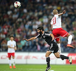 06.08.2014, Red Bull Arena, Salzburg, AUT, UEFA CL Qualifikation, FC Red Bull Salzburg vs Qarabag FK, dritte Runde, Rueckspiel, im Bild Namig Yusifov, (Qarabag FK, #7) und Alan Douglas Borges De Carvalho, (FC Red Bull Salzburg, #27) //during UEFA Champions League Qualifier second leg 3rd round match between FC Red Bull Salzburg vs Qarabag FK at the Red Bull Arena in Salzburg, Austria on 2014/08/06. EXPA Pictures © 2014, PhotoCredit: EXPA/ Roland Hackl
