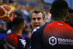 Bristol Flyers head coach Andreas Kapoulas<br />  before tip off - Photo mandatory by-line: Arron Gent/JMP - 28/09/2019 - BASKETBALL - Crystal Palace National Sports Centre - London, England - London City Royals v Bristol Flyers - British Basketball League Cup