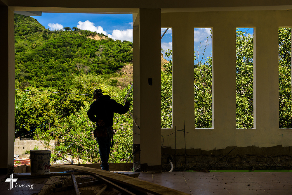 A worker pauses for a moment during construction at the Concordia Reformer Lutheran Seminary and Mercy Center in Santiago, Dominican Republic, on Monday, March 20, 2017.  LCMS Communications/Erik M. Lunsford