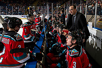 KELOWNA, CANADA - DECEMBER 7:  Kelowna Rockets' assistant coach, Kris Mallette, stands on the bench and speaks to players during a time out against the Victoria Royals on December 7, 2018 at Prospera Place in Kelowna, British Columbia, Canada.  (Photo by Marissa Baecker/Shoot the Breeze)