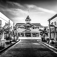 Balboa Pavilion and Main Street downtown in Newport Beach California. Balboa Pavilion is a landmark built in 1906 and now houses several businesses including  Harborside Restaurant. Balboa is a neighborhood within Newport Beach in Orange County Southern California.
