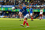Matt Clarke (5) of Portsmouth clears the ball during the EFL Sky Bet League 1 match between Portsmouth and Bradford City at Fratton Park, Portsmouth, England on 28 October 2017. Photo by Graham Hunt.