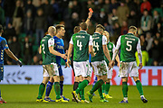 Referee Steven McLean shows Darren McGregor (#24) of Hibernian FC a red card during the Ladbrokes Scottish Premiership match between Hibernian and Rangers at Easter Road, Edinburgh, Scotland on 8 March 2019.