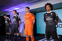 James Rodriguez, Gareth Bale, Iker Casillas and Marcelo pose for the photographers during the presentation of the Real Madrid's new Champions League kit at the Santiago Bernabeu stadium in Madrid, Spain. May 26, 2013. (ALTERPHOTOS/Victor Blanco)