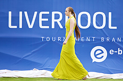 LIVERPOOL, ENGLAND - Thursday, June 18, 2015: Mia Roberts models during a fashion show during Day 2 of the Liverpool Hope University International Tennis Tournament at Liverpool Cricket Club. (Pic by David Rawcliffe/Propaganda)
