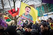 Frankfurt | 18 March 2017<br /> <br /> Am Samstag (18.02.2017) feierten &uuml;ber 30000 Kurden im Rahmen einer Demonstration das kurdische Neujahrsfest Newroz, bei der Demo sprachen sie sich gegen eine Diktatur und f&uuml;r die Freilassung von PKK-F&uuml;hrer Abdullah &Ouml;calan aus.<br /> Hier: Demonstranten mit einer Fahne mit einem Bild von &Ouml;calan und der Aufschrift &quot;Freedom For &Ouml;calan&quot;.<br /> <br /> photo &copy; peter-juelich.com<br /> <br /> Nutzung honorarpflichtig!